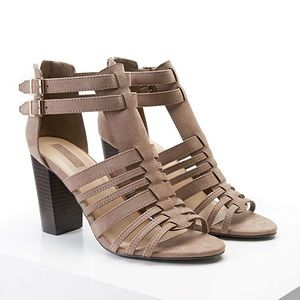 Tan Suede Open-toed Strappy Heels